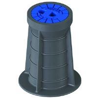 Poklop ventilový HECKL PLASTUS, plastový, litinové víko, kruh, VODA - modré víko