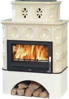Kachlová kamna na dřevo ABX KARELIE 16,6 kW, písková, selský sokl bílý, teplovodní výměník 10,5 kW