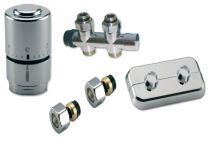 CHROMOVÝ Ventilový set pro středové koupelnové radiátory, přímý,IVAR KIT DV 10315, CU 15