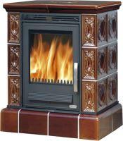 Kachlová kamna na dřevo ABX HELVETIA KP 9 kW, hnědá, kachlový sokl