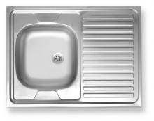 Nerezový dřez NOVASERVIS 60x80 odkap vpravo, hranatý, stříbrný - DR60/80