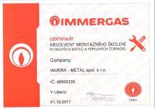 Certifikát Immergas