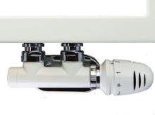 BÍLÝ ventilový set pro středové koupelnové radiátory, rohový HERZ S 3700 16 - PEX 16