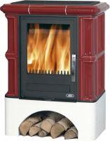 Kachlová kamna ABX BAVARIA K 12kW, bordó, selský sokl, dřevo/dřevěné brikety + teplovodní výměník 6,9 kW