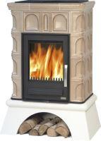 Kachlová kamna na dřevo ABX BRITANIA K 12,4 kW, tabakbraun, bílý selský sokl, teplovodní výměník 6,9 kW