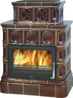 Kachlová kamna na dřevo ABX KARELIE 16,6 kW, hnědá, kachlový sokl, teplovodní výměník 10,5 kW