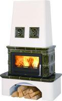Kachlová kamna na dřevo ABX LAPONIE 17 kW, zelená, sokl selský bílý, teplovodní výměník 10,5 kW
