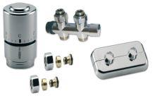 CHROMOVÝ Ventilový set pro středové koupelnové radiátory, přímý, IVAR KIT DV 10316, PEX 16
